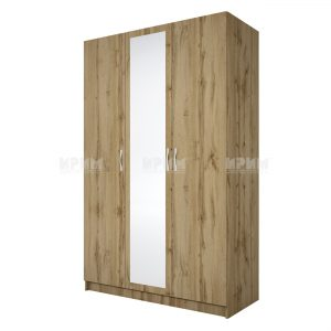 Трикрилен гардероб с огледало Сити 1003