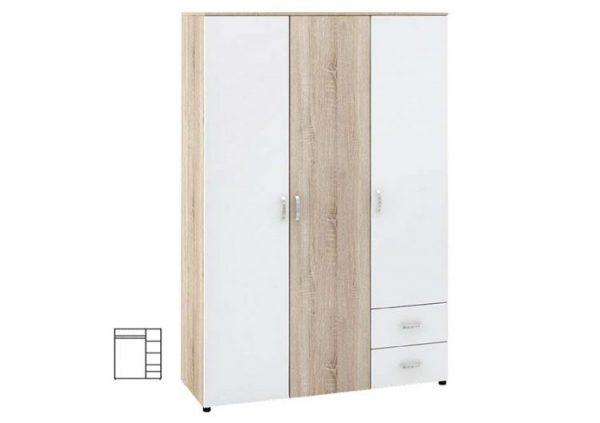 Трикрилен гардероб с чекмеджета Дамяна М 020